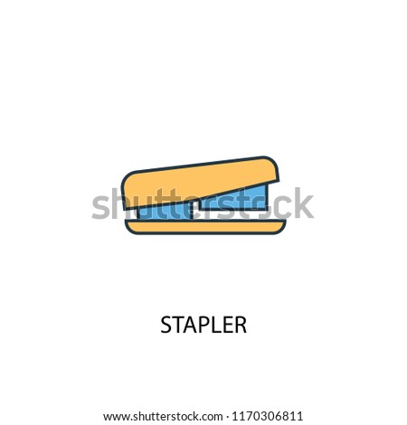 Stapler concept 2 colored line icon. Simple yellow and blue element illustration. Stapler concept outline symbol design from Workspace set