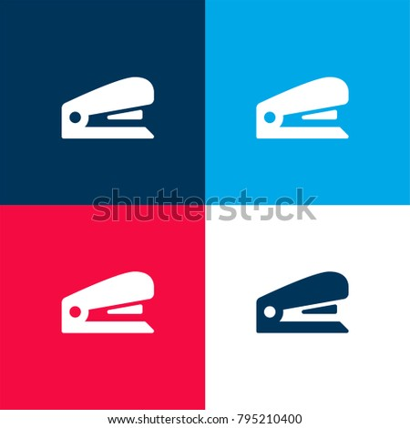 Stapler four color material and minimal icon logo set in red and blue