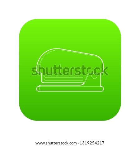 Stapler icon green vector isolated on white background