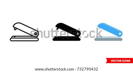 Stapler icon of 3 types: color, black and white, outline. Isolated vector sign symbol.