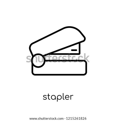 Stapler icon. Trendy modern flat linear vector Stapler icon on white background from thin line E-learning and education collection, editable outline stroke vector illustration