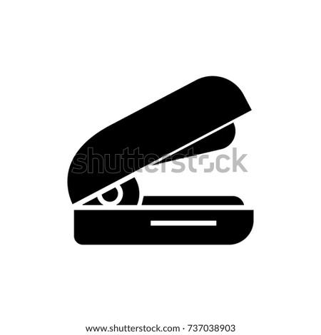 stapler icon, vector illustration, black sign on isolated background