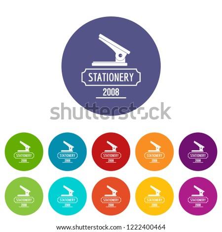 Stapler icons color set vector for any web design on white background