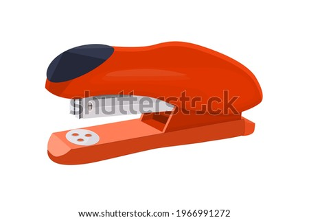 Stapler isolated on white background. Red office stapler for stapling paper. Stationery device icon for web and applications. Stapling equipment for work or education. Stock vector illustration Stockfoto ©