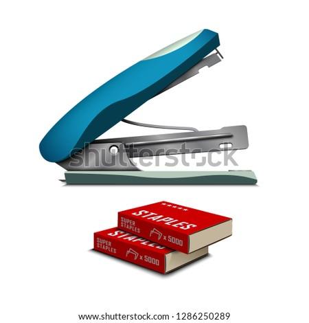 Stapler isolated on white background. Standard staples for stapler. Office equipment. Staples in pack. Vector illustration.