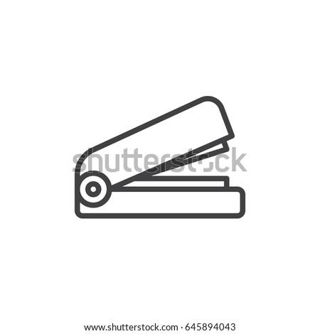Stapler line icon, outline vector sign, linear style pictogram isolated on white. Symbol, logo illustration. Editable stroke. Pixel perfect