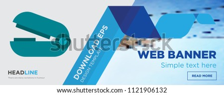 Stapler remover concept horizontal webpage banner template design on abstract background with flat modern isolated vector icon and geometric shapes, Stapler remover icons