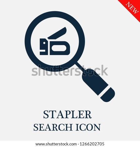 Stapler search icon. Stapler icon in magnifier icon. Editable Stapler search icon for web or mobile.