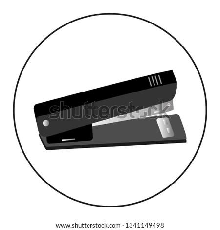 Stapler, staple, paper, office equipment, black color vector illustration. Stationery