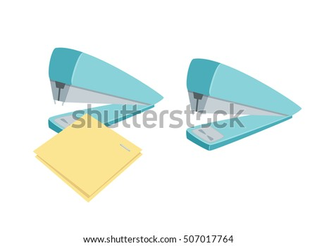 Stapler staples paper sheets. Process of staples documents. Office work tool cartoon vector illustration. Working, education, business concept.