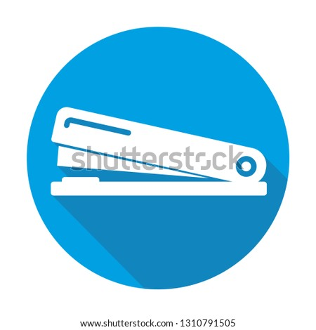 stapler vector blue icon in modern flat style isolated. stapler support is good for your web design.