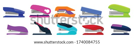 Stapler vector cartoon set icon. Isolated cartoon set icon stapling equipment. Vector illustration stapler on white background. Stockfoto ©