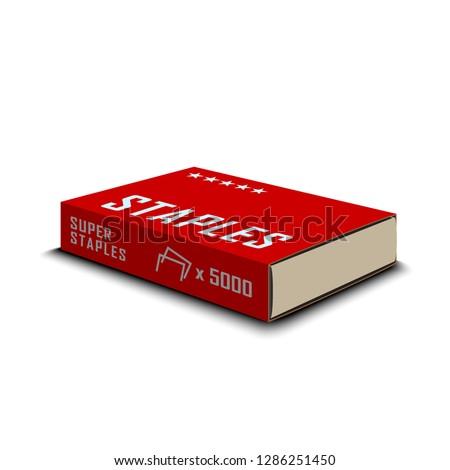 Staples in pack isolated on white background. Office standard staples for stapler. Vector illustration.