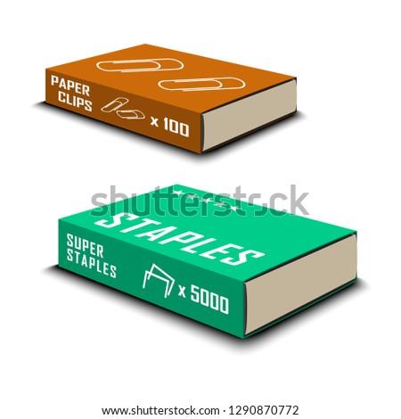 Staples in pack. Paper clip. Clips in the box. Stationery. Office standard staples for stapler. Vector illustration.
