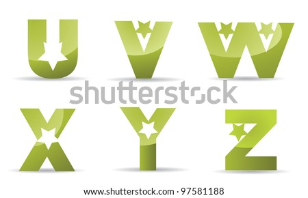 Star alphabet letters icon symbol set EPS 8 vector, grouped for easy editing. No open shapes or paths.
