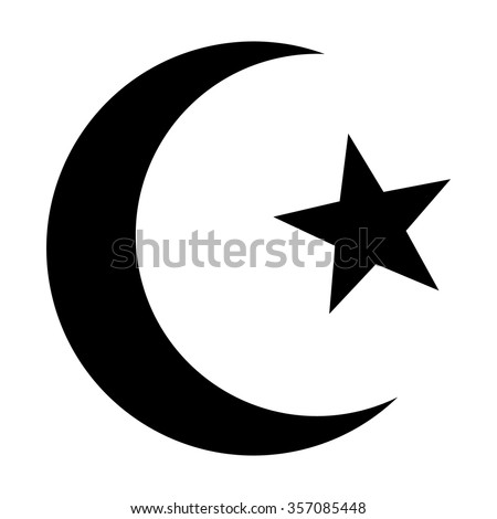 Star and crescent - symbol of Islam flat icon for apps and websites