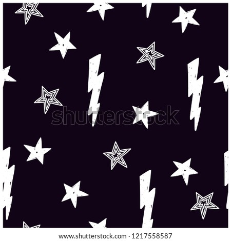 Star and flash seamless pattern. Cute background for kids.Vector print.
