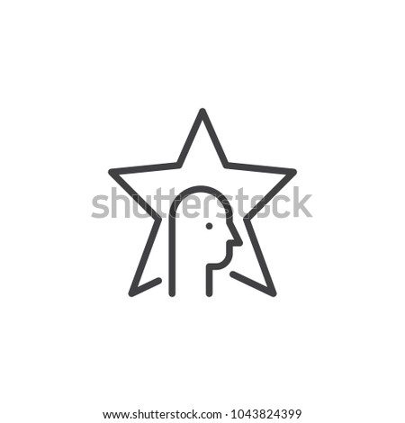 Star and head outline icon. linear style sign for mobile concept and web design. celebrity simple line vector icon. Symbol, logo illustration. Pixel perfect vector graphics - Shutterstock ID 1043824399