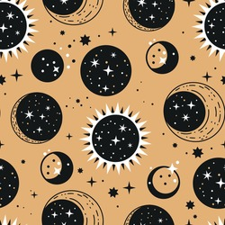 Star and planet astronomy space seamless pattern. Vector celestial background starry astrology night symbol.