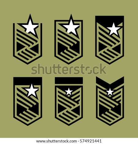 Star and stripes shield collection. Set of military badge.