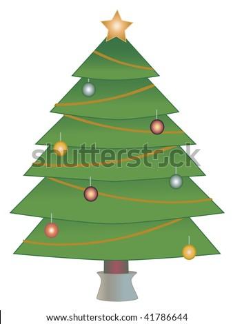 Star atop Christmas Tree in light decor isolated on white Dark Tone Christmas Tree Vector Illustration