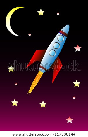 Star background with moon and space rocket