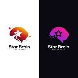 star brain logo designs template, head brain logo designs