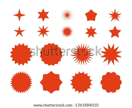 Star burst stickers. Red retro sale badge, flat price tags silhouettes, starburst labels graphic template. Vector star burst symbols flashes isolated badges