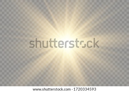 Star burst with brilliance, glow bright star, yellow glowing light burst on a transparent background, golden light effect, flare of sunshine with rays, yellow sun rays, vector illustration, eps 10 Сток-фото ©