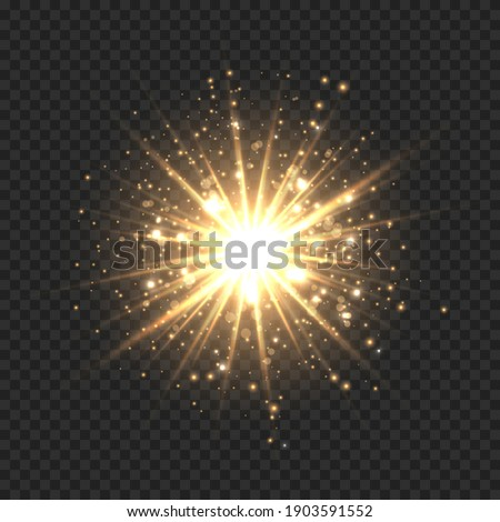 Star burst with sparkles. Golden light flare effect with stars, sparkles and glitter isolated on transparent background. Vector illustration of shiny glow star with stardust, gold lens flare