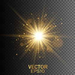 Star burst with sparkles. Light effect. Gold glitter texture
