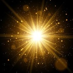 Star burst with sparkles. Light effect. Gold glitter texture.