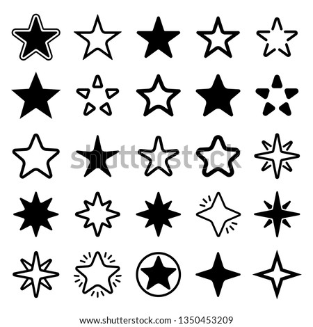 Star collection. Different stars set. Vector illustration