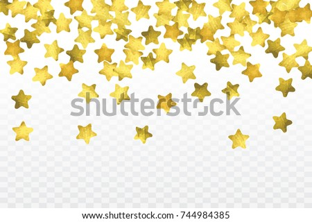 Star confetti isolated on transparent background. Falling magic particles. Celebration card template with watercolor gold gouache elements. Christmas party invitation mock up. Starry winner backdrop.