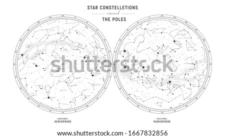 Star constellations around the poles. Nothern and Southern high detailed star map with symbols and signs of zodiac.  Black astrological celestial map