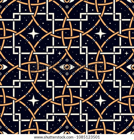Star Eye. Seamless pattern with stars, magic eyes, and golden lattice in esoteric style. Alchemy, space, spirituality, mysticism.