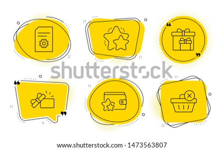 Star, File settings and Delete purchase signs. Chat bubbles. Opened gift, Delivery boxes and Loyalty program line icons set. Present box, Birthday gifts, Bonus wallet. Customer feedback. Vector
