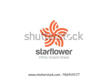 Star Flower abstract shape Logo design vector template.