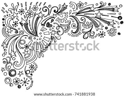 Star Frame Border Back to School Sketchy Notebook Doodles,Hand-Drawn Vector Illustration Design Elements