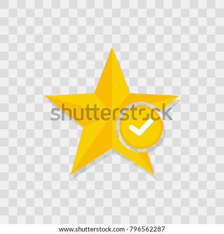 Star icon, check icon sign vector symbol