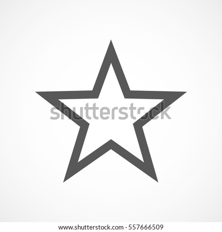 Star icon in flat design. Gray star icon on white background. Vector illustration.