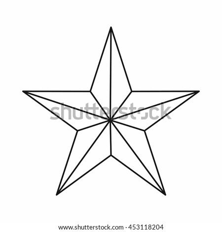Star icon in outline style isolated vector illustration