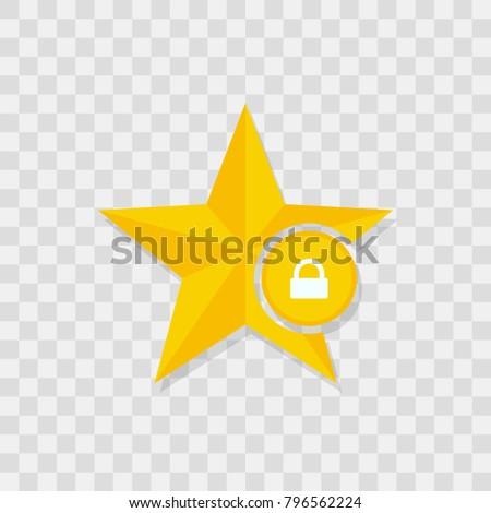 Star icon, locked icon sign vector symbol