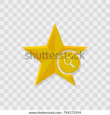 Star icon, magnifier icon sign vector symbol