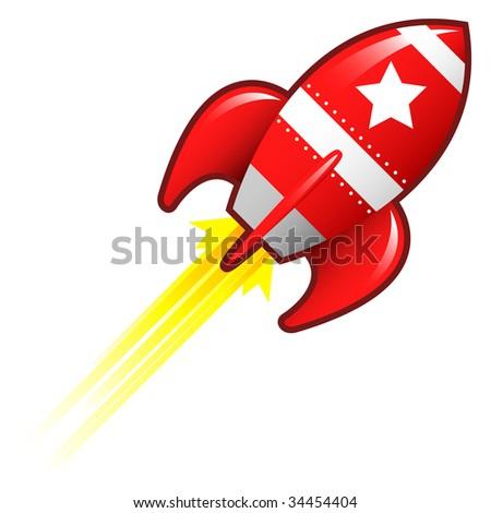 Star icon on red retro rocket ship illustration