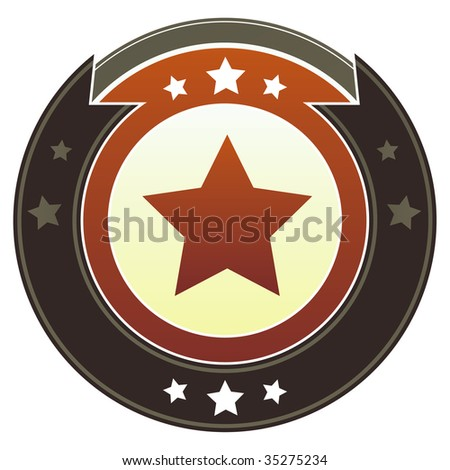Star icon on round red and brown imperial vector button with star accents suitable for use on website, in print and promotional materials, and for advertising.