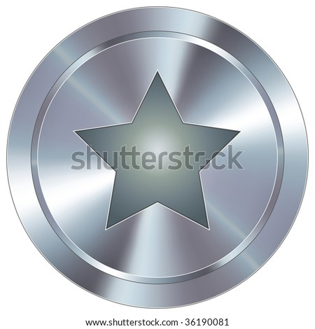 Star icon on round stainless steel modern industrial button