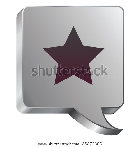 Star icon on stainless steel modern industrial voice bubble icon suitable for use as a website accent, on promotional materials, or in advertisements.