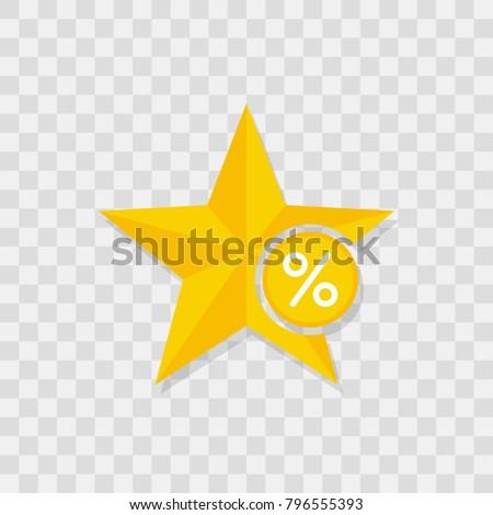 Star icon, percent icon sign vector symbol