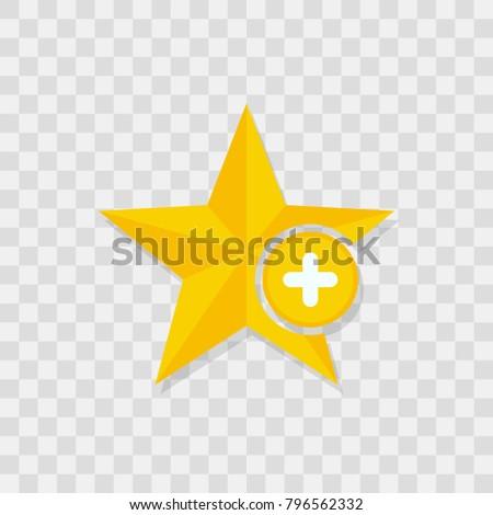 Star icon, plus icon sign vector symbol
